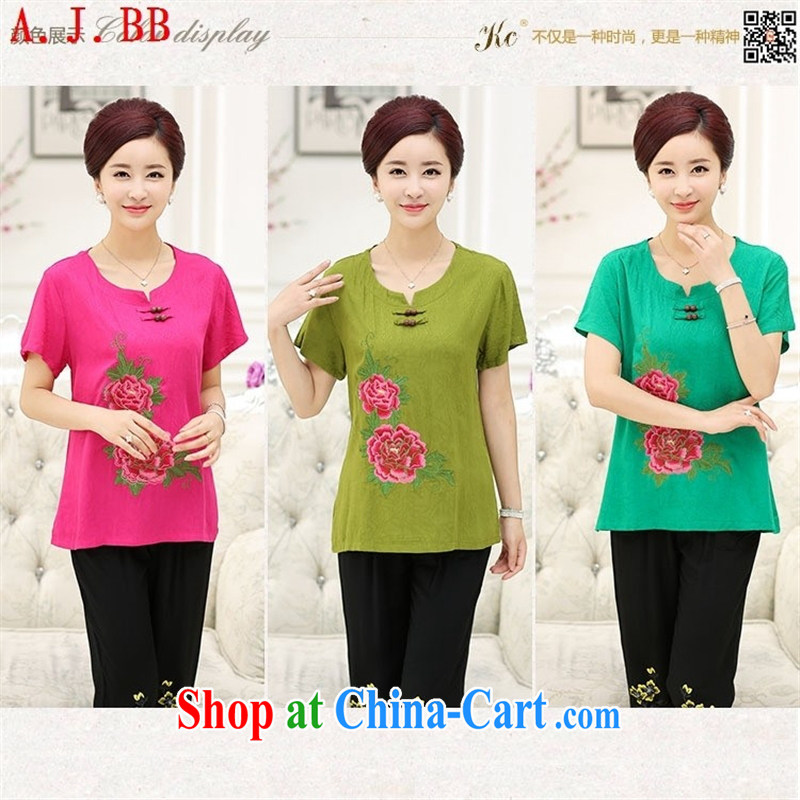 Black butterfly 2015 middle-aged and older women with new summer MOM Women Fashion leisure short-sleeved new female silk Kit Chiu-hsiang green 4 XL