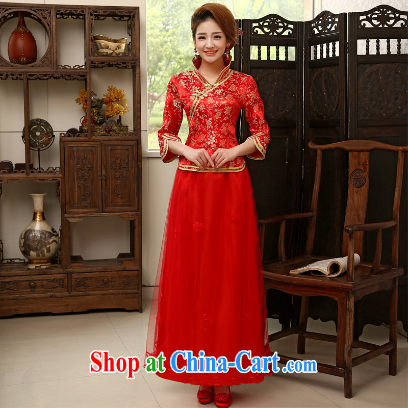 Leigh impression toast service bridal dresses 2015 red retro Long Red Beauty wedding dresses 2006 Q XL