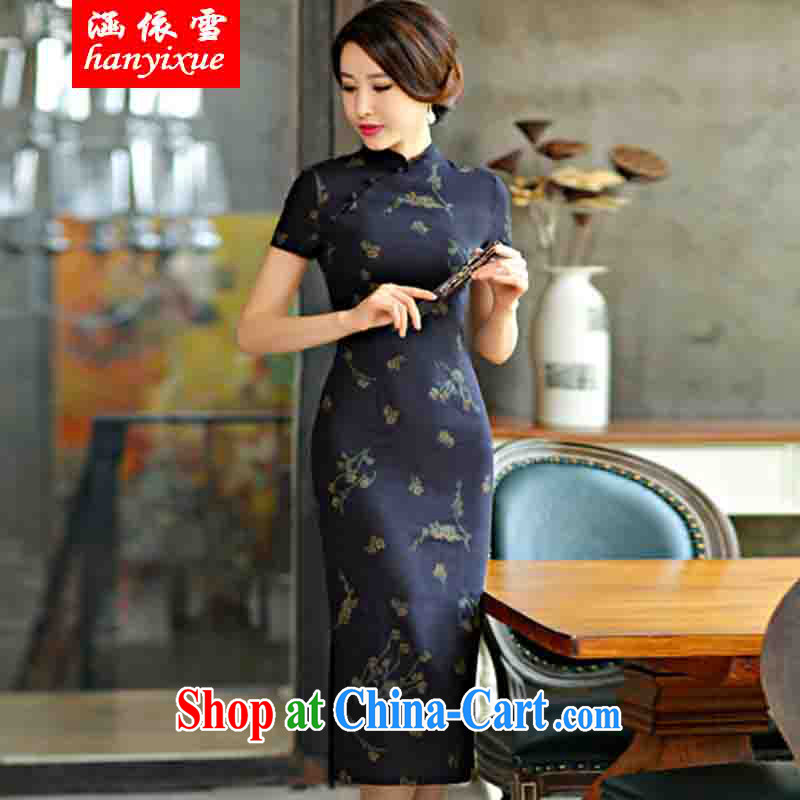 covered by snow in accordance with 2015 spring and summer beauty retro graphics thin short sleeves in the Code improved linen long cheongsam dress, Su Mei XXL