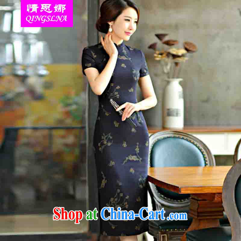 And Cisco's 2015 spring and summer with retro beauty graphics thin short sleeves in the Code improved linen long cheongsam dress, Su Mei XXL