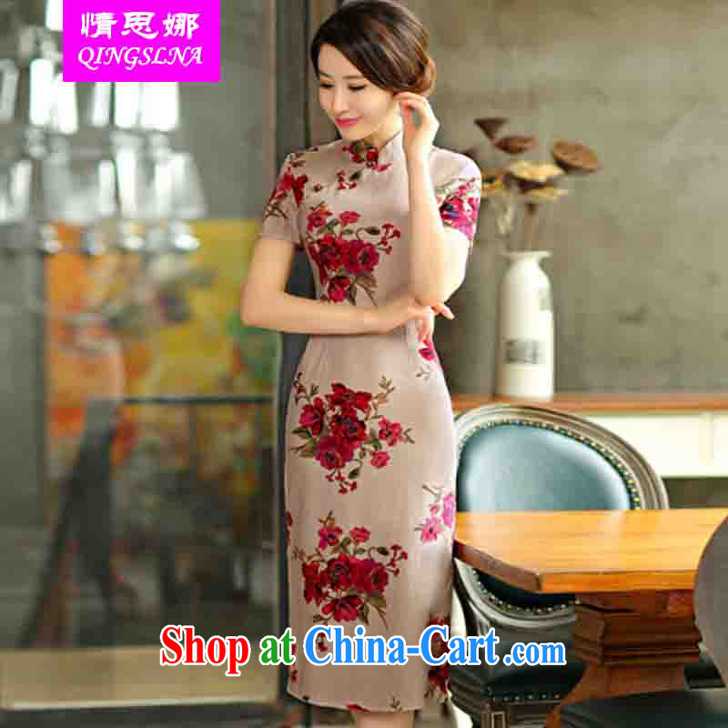 And Cisco's 2015 spring and summer with retro beauty graphics thin short sleeves in the Code improved linen long cheongsam dress full XXL