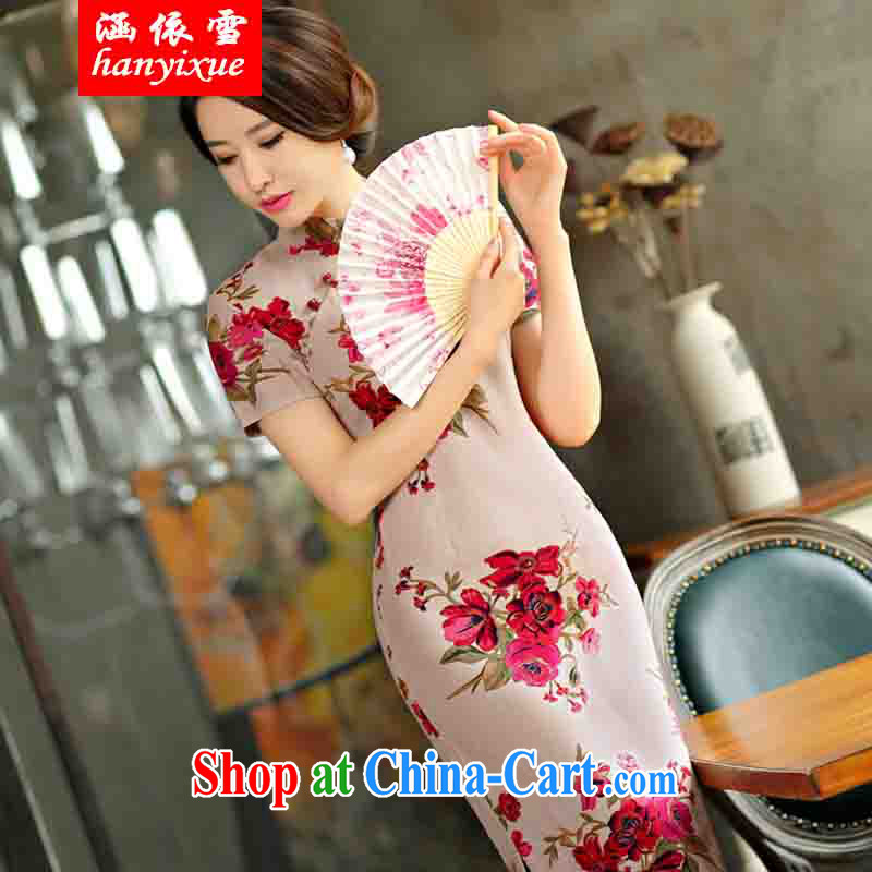 covered by snow in accordance with 2015 spring and summer beauty retro graphics thin short sleeves in the Code improved linen long skirt outfit full XXL