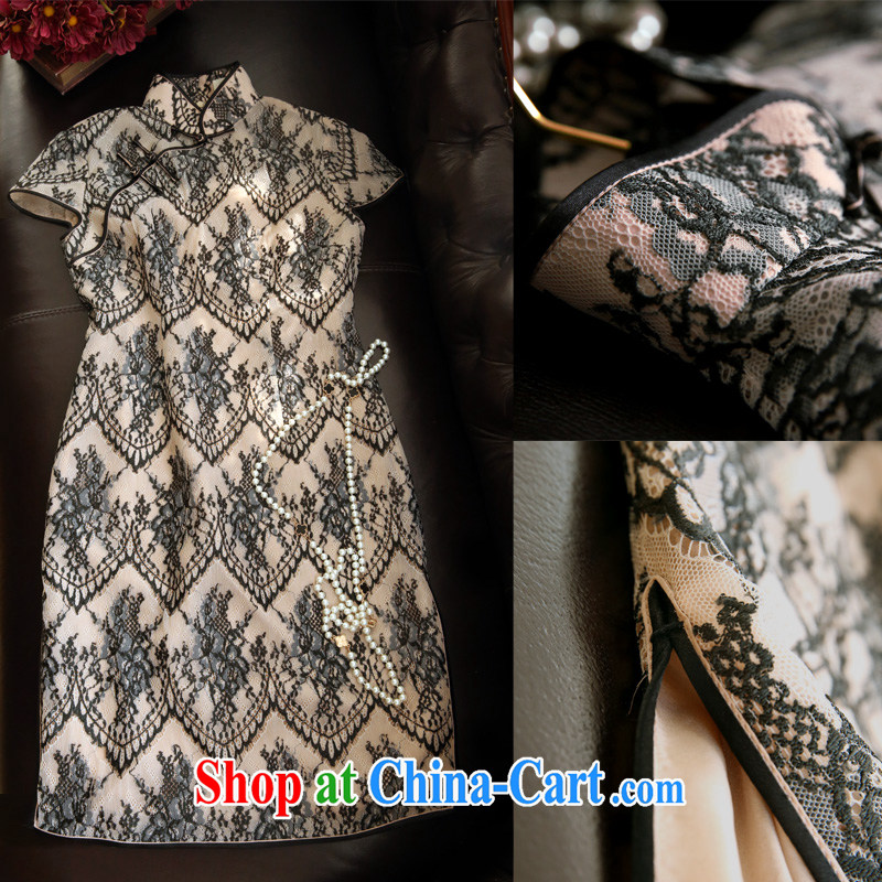 Pre-sale -- lace silk daily Art Nouveau improved cheongsam cultivating short-sleeved Chinese style Chinese, for a field-buckle black L _June 15, the_