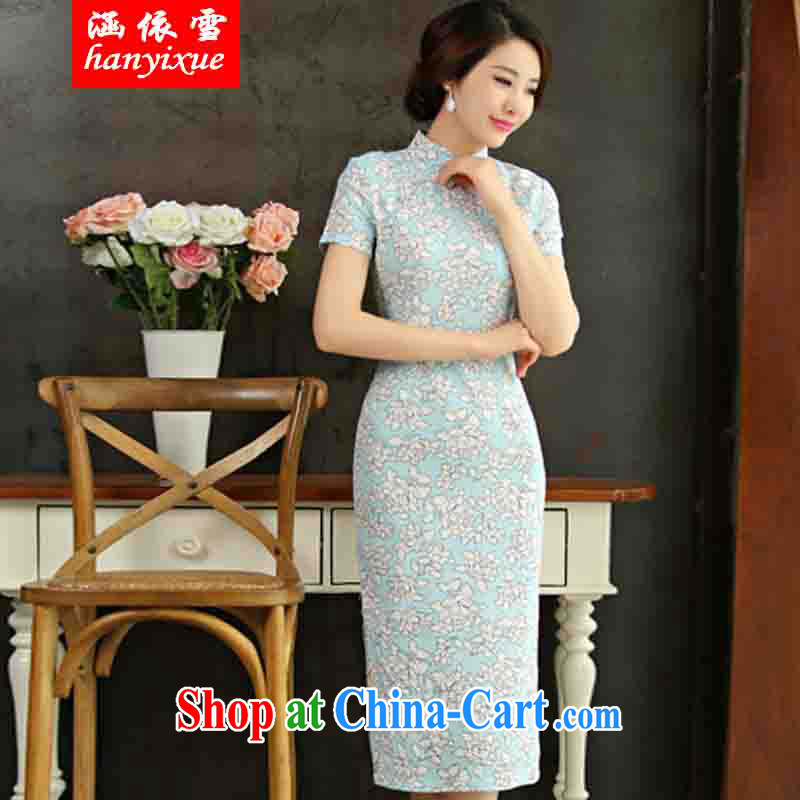 covered by snow in accordance with 2015 spring and summer beauty retro graphics thin short sleeves in the Code improved linen long skirt outfit, if XXL