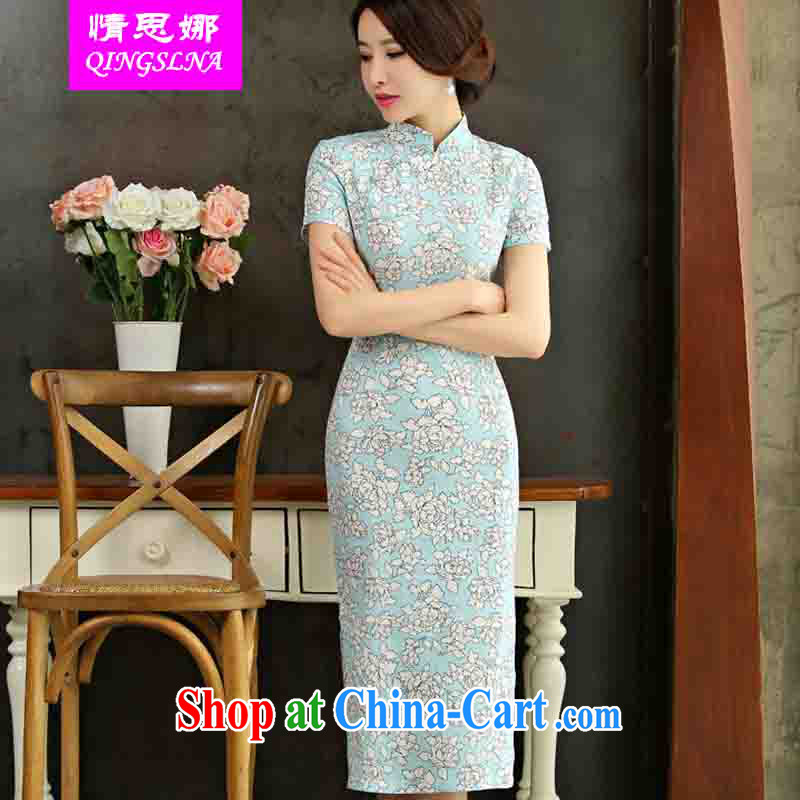 And Cisco's 2015 spring and summer with retro beauty graphics thin short sleeves in the Code improved linen long cheongsam dress, if XXL