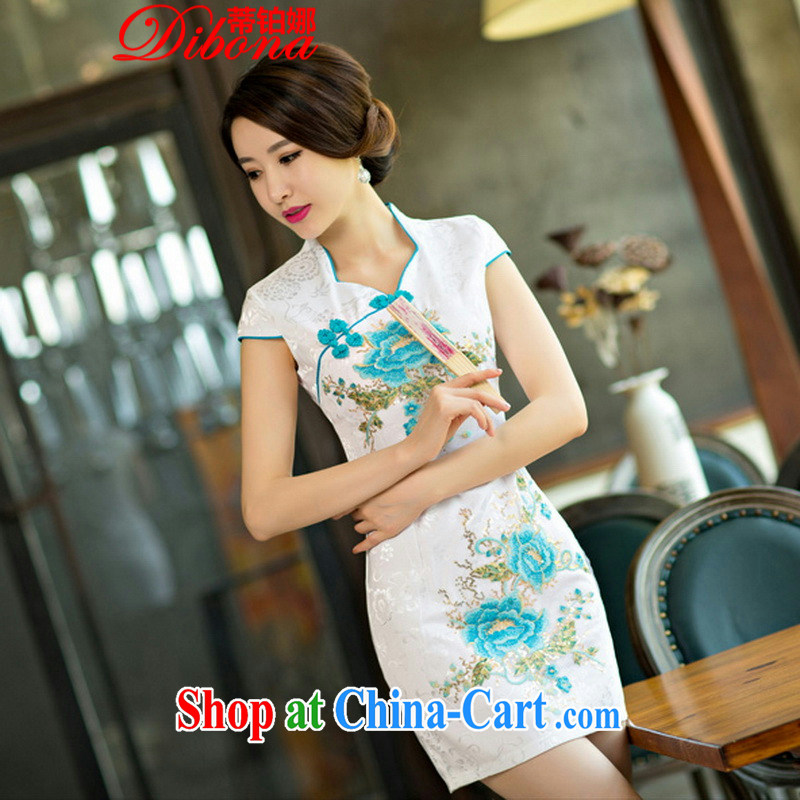Mr. Platinum's 2015 daily cheongsam dress short 2015 new dresses summer improved the Code women toast clothing blue flower XL