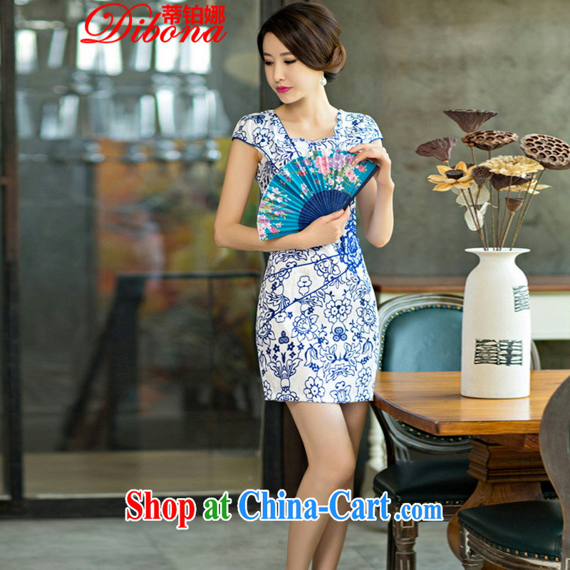Mr. Platinum's 2015 new daily female package dresses and short skirts, improved stylish blue and white porcelain dress blue and white porcelain XL