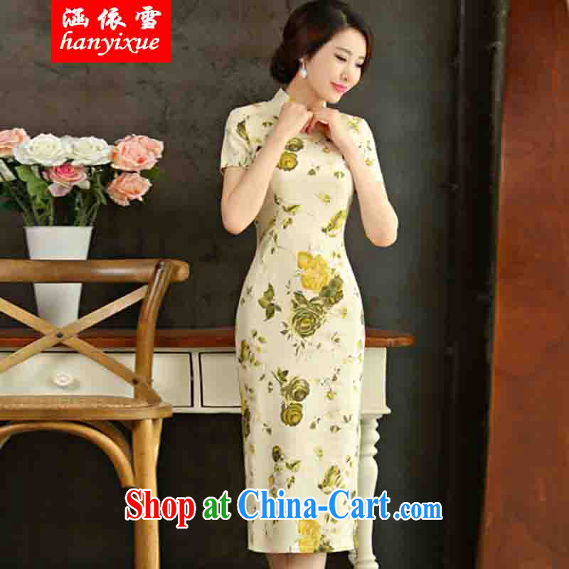 covered by snow in accordance with 2015 spring and summer beauty retro graphics thin short sleeves in the Code improved linen long skirt outfit Huangmei XXL