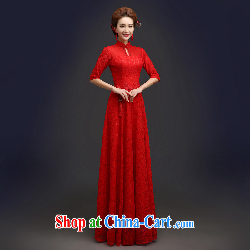 Connie focus 2015 Stylish spring bridal dresses wedding toast serving Chinese red color cuff, improved the code long summer dresses QP 103 red XXL