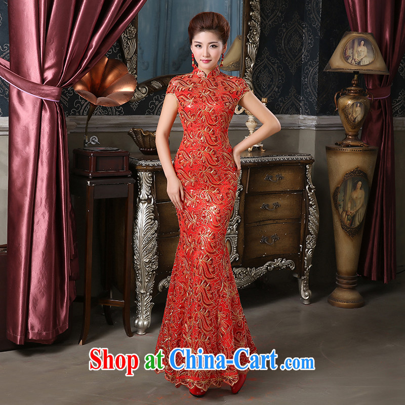 Pure bamboo love dresses cheongsam dress bride show_Stage_bridal dresses_costumes crowsfoot cheongsam long evening dress lace improved cheongsam bridal red tailored contact Customer Service