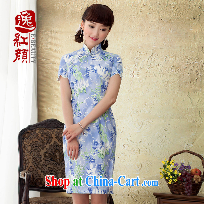 once and for all and terminates fatally jealous Yin Yue 2015 new dresses summer upscale linen stamp stylish beauty improved cheongsam dress blue 2 XL