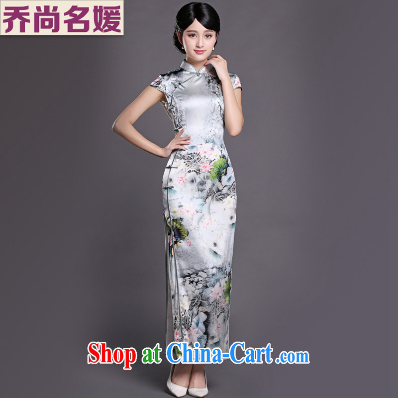 Joe is still name-yuan Chinese style qipao gown long heavy silk Chinese Tang replace CKZS 001 white XXL