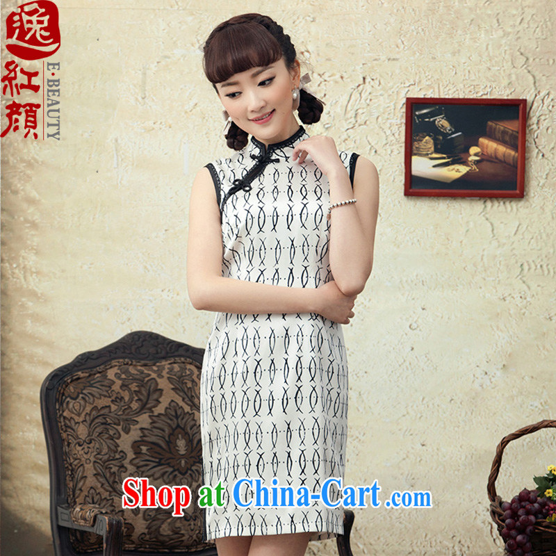 once and for all and fatally jealous verse cheongsam short summer high-end sauna silk stamp stylish improved sleeveless dresses dresses white 2XL