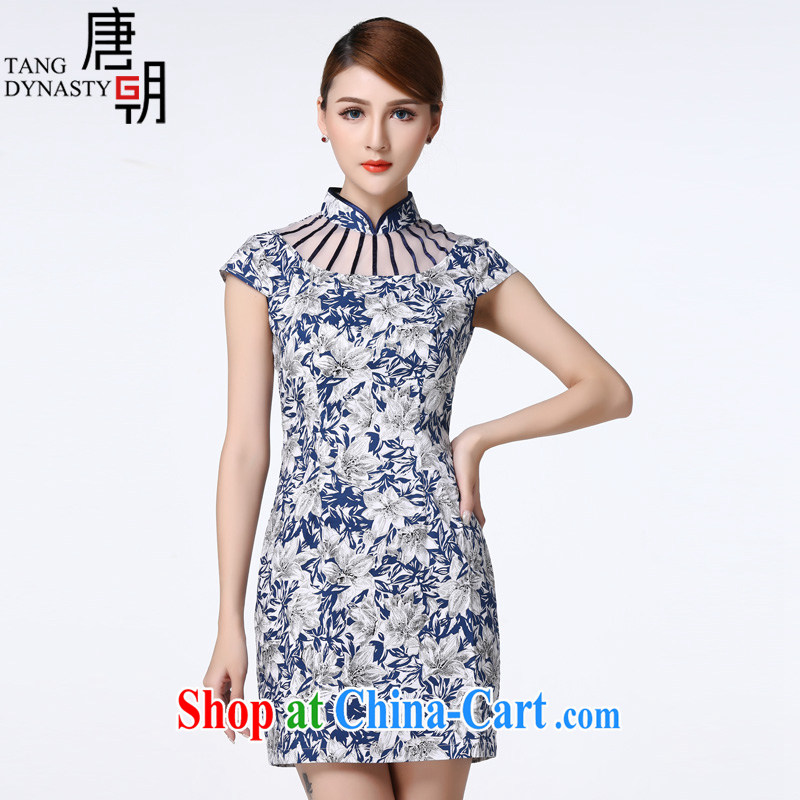 The Tang dynasty 2015 summer new European root yarn stitching short-sleeved elegance short cheongsam dress female TXF 30,498 blue and white rhododendrons XXXL
