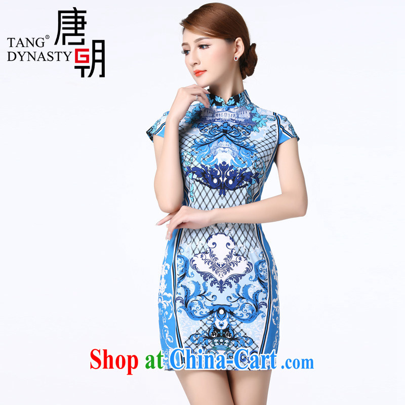 The Tang dynasty 2015 summer abstract pattern-waist graphics thin improved daily short cheongsam dress female TXF J 21,500 from a stamp XXXL