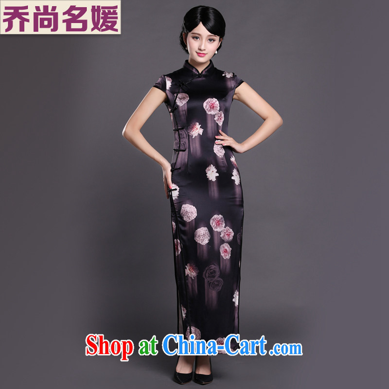 Joe is still name-yuan Chinese Dress cheongsam long Korea wind heavy silk CKZS 002 black XXL