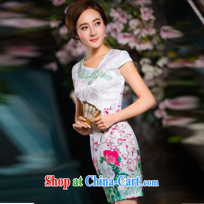 Chinese Antique silk fragrant cloud dresses cheongsam dress summer improved stylish appearance, Ms. day XXL