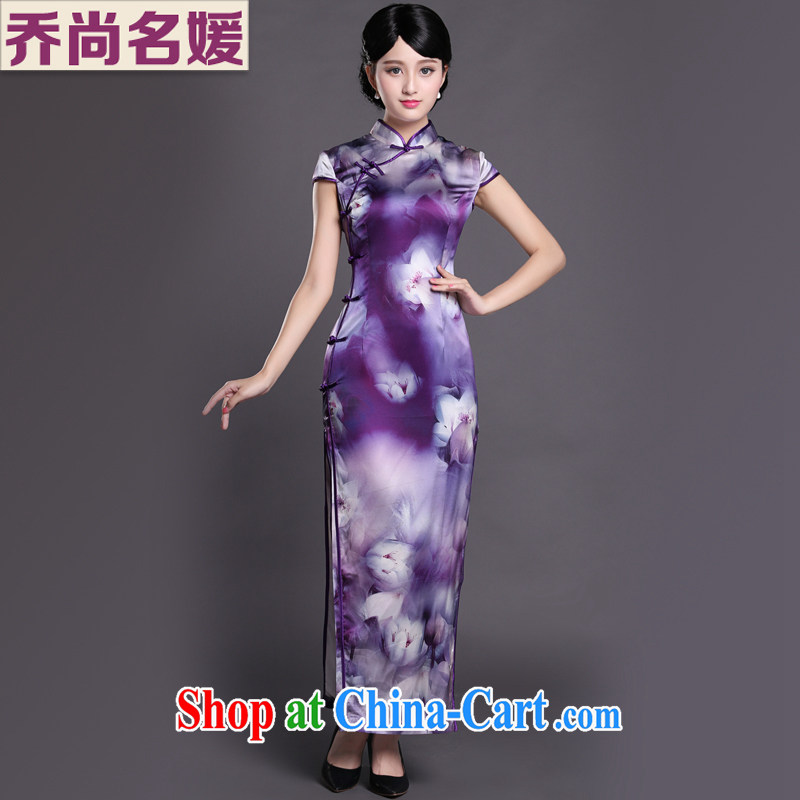 Joe is still name-yuan cheongsam dress heavy silk dress purple long temperament Tang replace CKZS 004 purple XXL