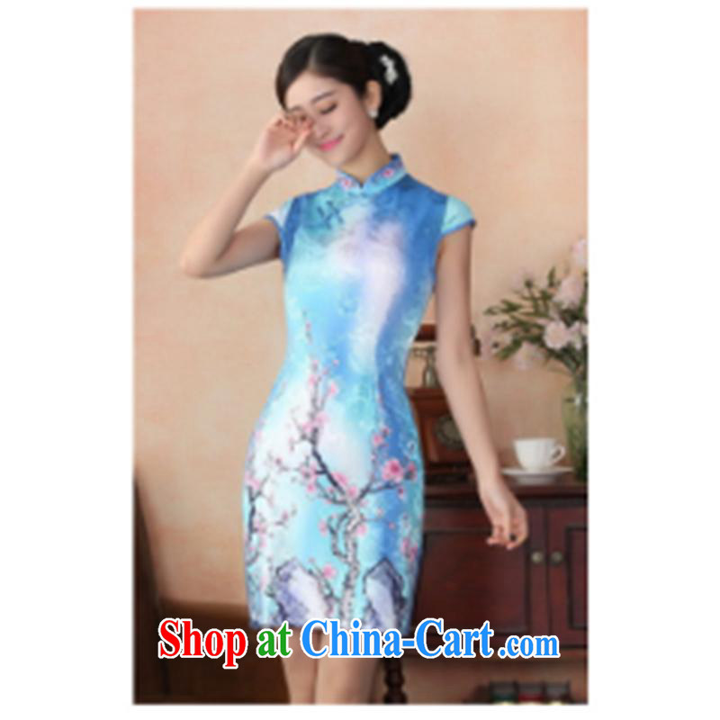 100 brigade Bailv summer new 3D digital stamp national wind Chinese qipao short-sleeved dresses female B F 1 1028 # 0288, toner Phillips 2XL