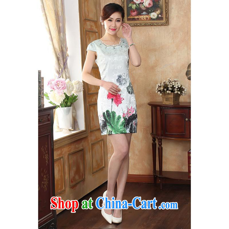 100 brigade Bailv summer new digital registration stamp duty no collar short cheongsam dress with short-sleeved dresses female B F 1 1028 # 0368, lotus green the lotus 2 XL