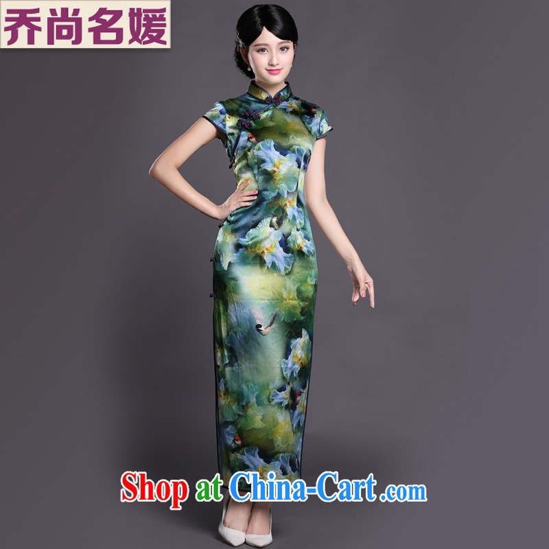 Joe is still name-yuan Chinese Dress cheongsam long, heavy silk of Korea, female CKZS 008 green XXL