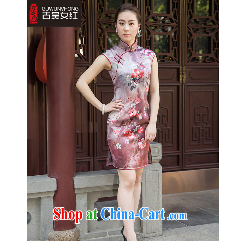 Mr. Wu female Red 2015 summer, new stamp cheongsam short suits, B S