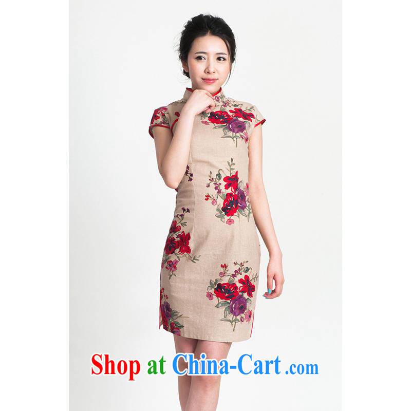 100 brigade Bailv summer new stamp Chinese qipao short-sleeved dresses female B F 1 1028 # sauna JA spent one of the brown linen brown linen 2 XL