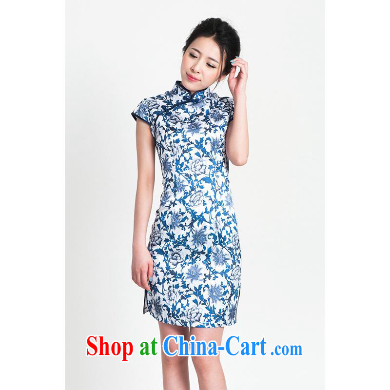 100 brigade Bailv summer jacquard cotton stamp Chinese qipao short-sleeve dresses female B F 1 1028 _ dos Santos of JA spent 9921, Blue on white flower Blue on white 2 XL