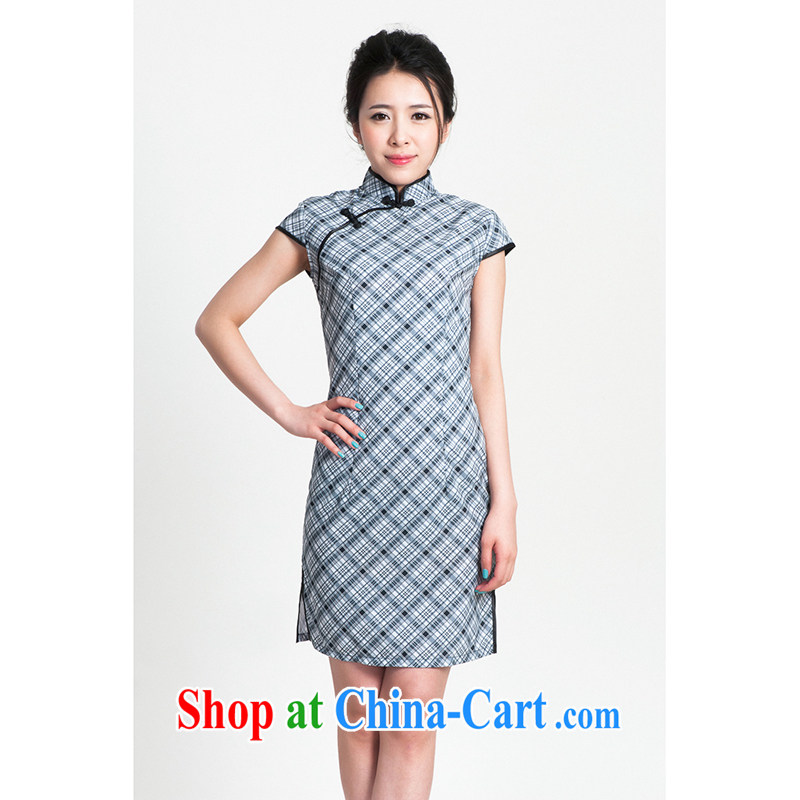 100 brigade Bailv summer new Ice silk tartan Chinese qipao short-sleeved dresses female B F 1 1028 _ sauna-jae of C -03, blue,