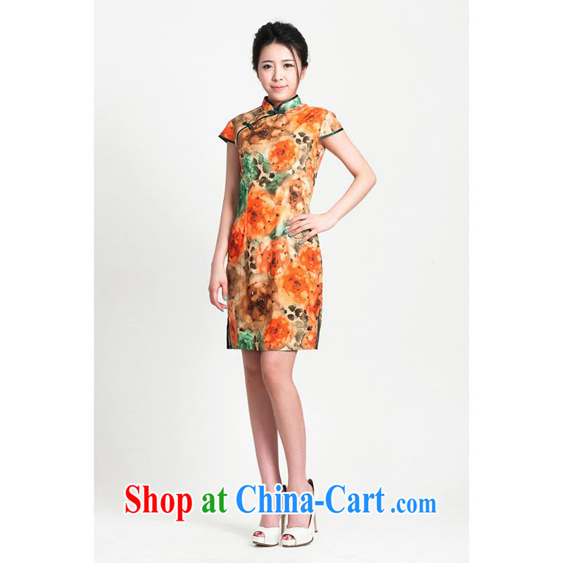100 brigade Bailv summer new ICE-silk suit with short dresses short-sleeved dresses female B F 1 1028 # sauna JA flower 888 2-Color orange 2 XL
