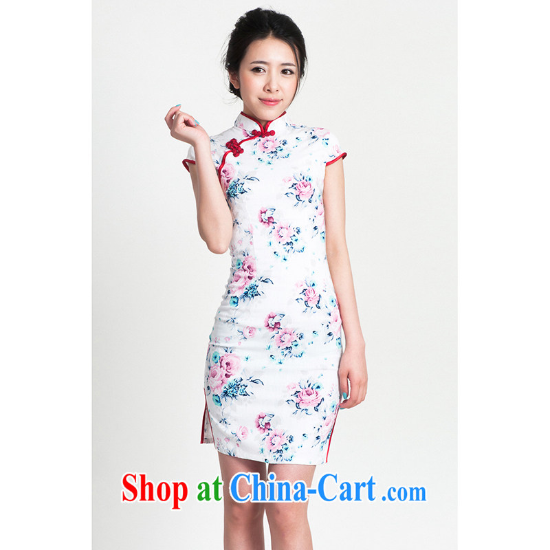 100 brigade Bailv summer new cotton stamp Chinese cheongsam dress short-sleeve dresses female B F 1 1028 _ sauna-jae of the flower - cotton, tender toner