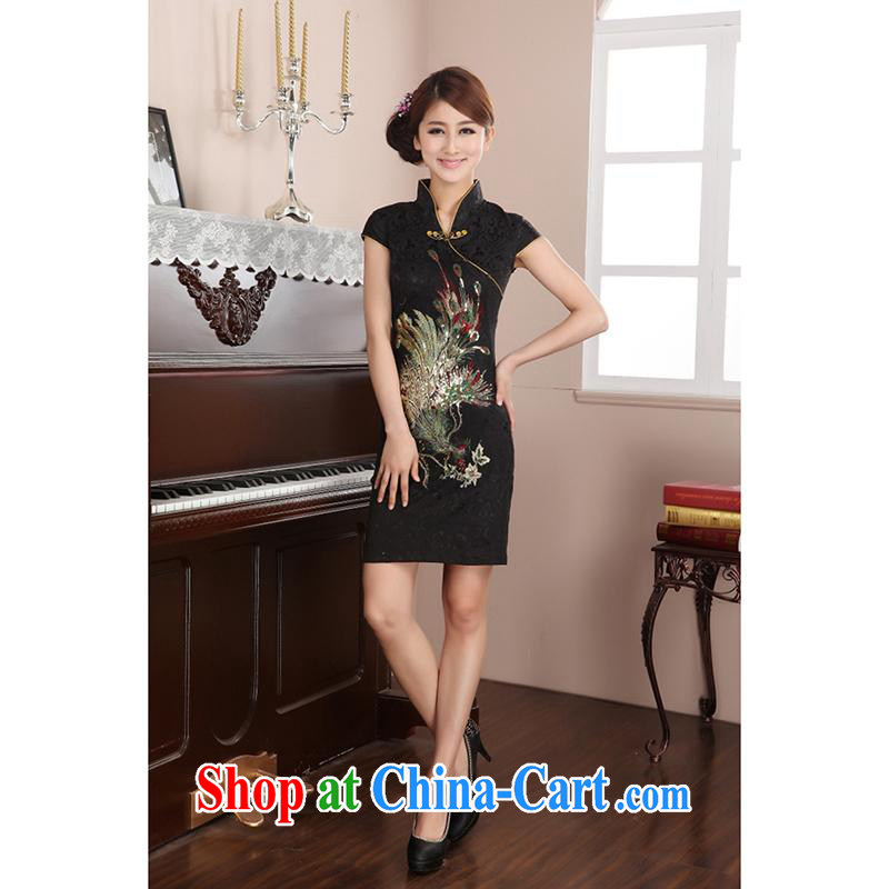 100 brigade Bailv summer new female Peacock art nouveau beauty cheongsam B F 1 1028 #40 Peacock jacquard cotton 5-color black 2 XL