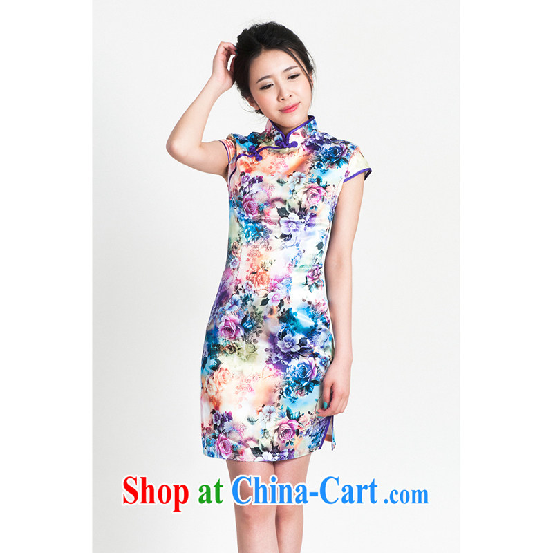 100 brigade Bailv summer new Ice silk stamp Chinese qipao short-sleeve dresses female B F 1 1028 _ sauna-jae of 1369, psychedelic