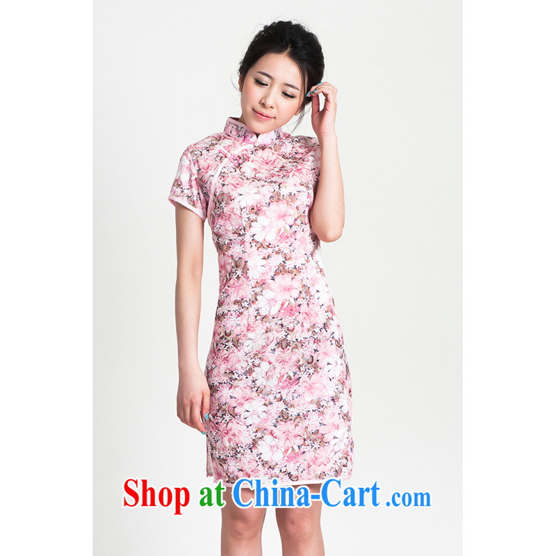 100 brigade Bailv summer new jacquard cotton stamp Chinese cheongsam dress short-sleeve dresses female B F 1 1028 # sauna-jae of C - 02 - 2