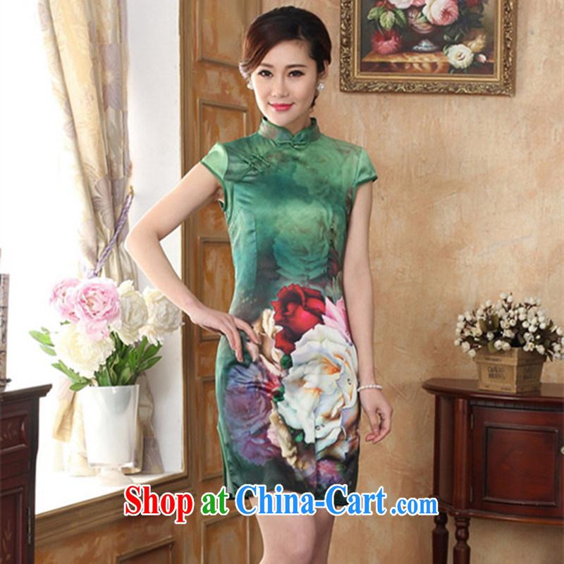 100 brigade Bailv summer new 3D digital stamp national wind Chinese qipao short-sleeved dresses female B F 1 1028 # 0351,