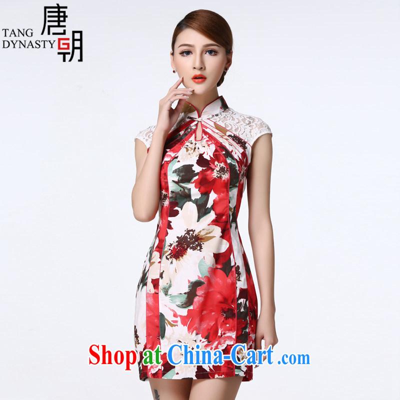 The Tang dynasty summer 2015 improved daily cheongsam dress lace stitching short cheongsam dress female TCF 40,003 white sea-tong XXL