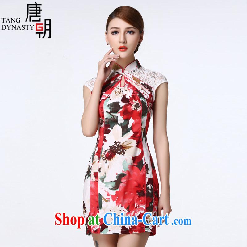 The Tang dynasty summer 2015 improved daily cheongsam dress lace stitching short cheongsam dress female TCF 40,003 white sea-tong XXL