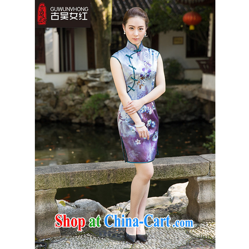 Mr. Wu female Red 2015 summer, new stamp cheongsam short suits, A XXL