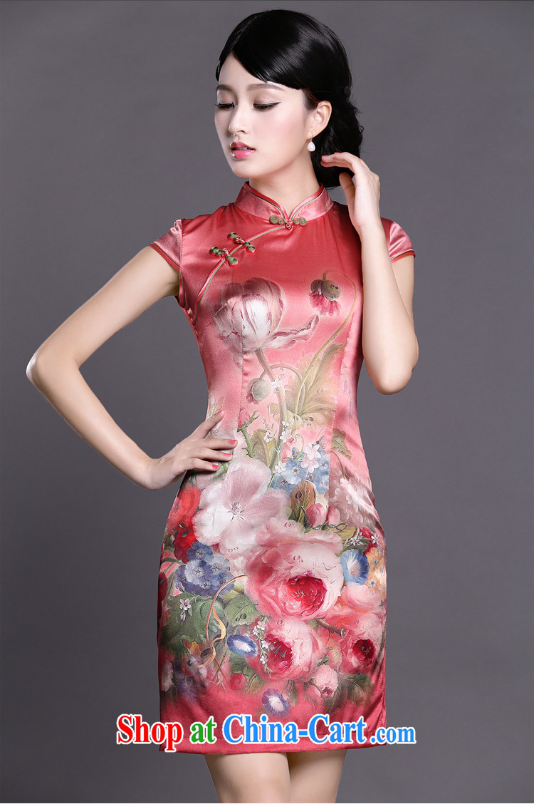 Joe is still a ritual red Silk Cheongsam dress short-sleeved improved Korea wind female ZS 051 red XXL pictures, price, brand platters! Elections are good character, the national distribution, so why buy now enjoy more preferential! Health