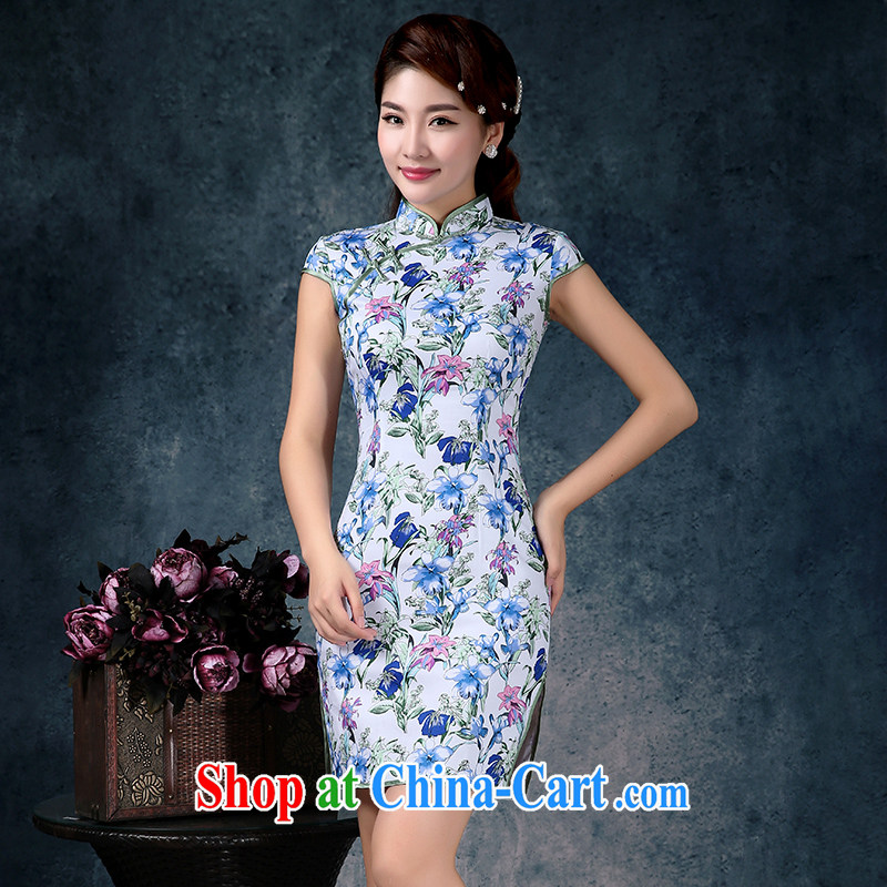 Mrs Alexa Lam growl 2015 new short retro daily improved cultivation video thin cheongsam dress summer dresses 01,951 light blue L