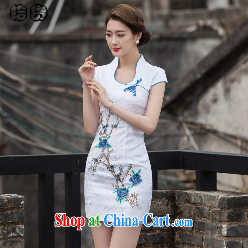 The dessertspoon, summer 2015, elegant beauty, retro-day Chinese improved cheongsam dress high-end embroidery style short, no fork cheongsam dress blue XL