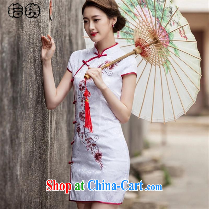 The dessertspoon, summer 2015, Tang with retro improved daily cheongsam dress beauty graphics thin fancy embroidery and stylish low-power the truck ends sporting short cheongsam female white XXL