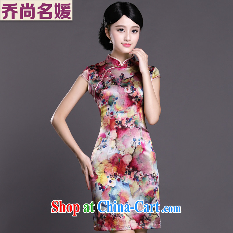 Joe is still name-yuan cheongsam dress silk short-sleeved improved China wind Chinese Dress ZS 052 red XXL