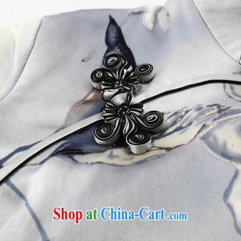 Joe is still a Facade pattern style cheongsam dress silk sauna silk improved China wind ZS 053 white XXL, CHOSHAN LADIES, shopping on the Internet