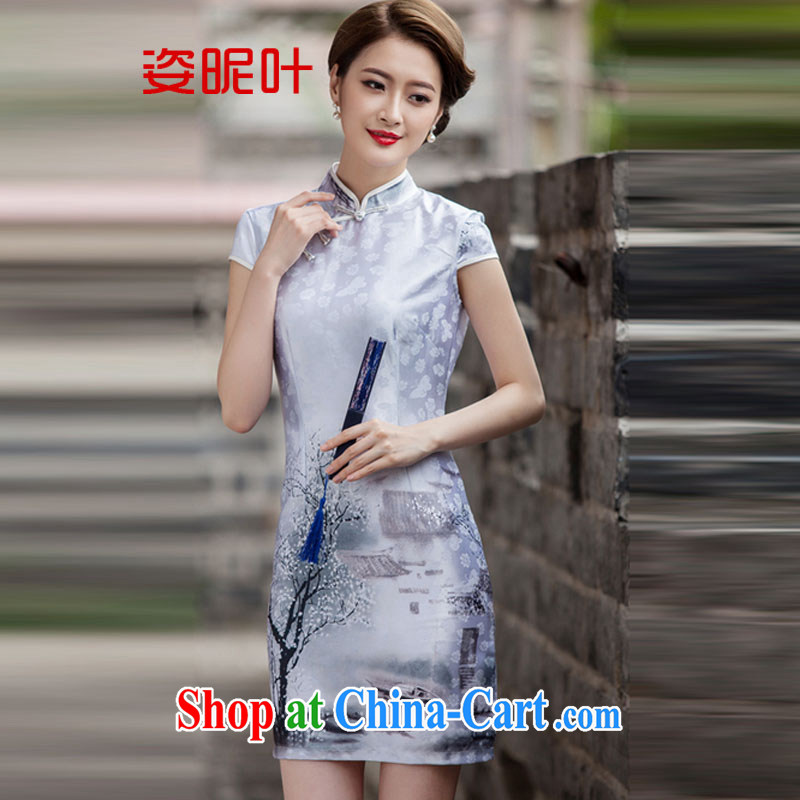 colorful nicknames, 2015 new painting classic short-sleeve cheongsam dress retro fashion China wind daily outfit Q 1107 painting XXL