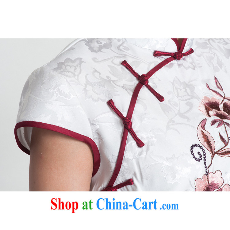 100 brigade Bailv cheongsam dress stylish improved summer new retro beauty short dresses B F 1 1028 #0299, white on black 2XL pictures, price, brand platters! Elections are good character, the national distribution, so why buy now enjoy more preferential! Health