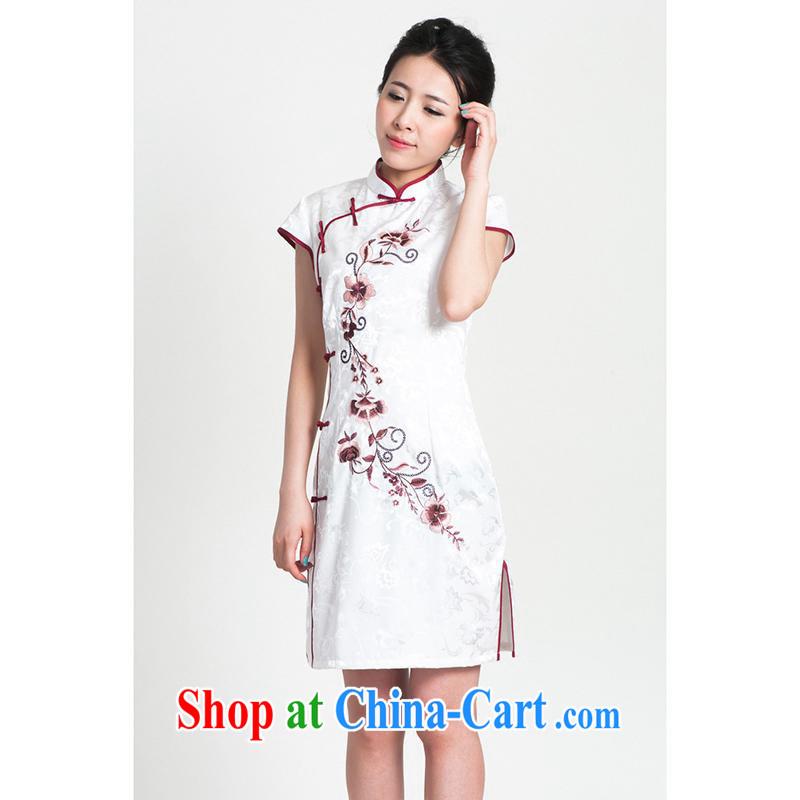 100 brigade Bailv cheongsam dress stylish and improved summer new retro beauty short dresses B F 1 1028 #0299, white on black 2XL, Aeroline, shopping on the Internet