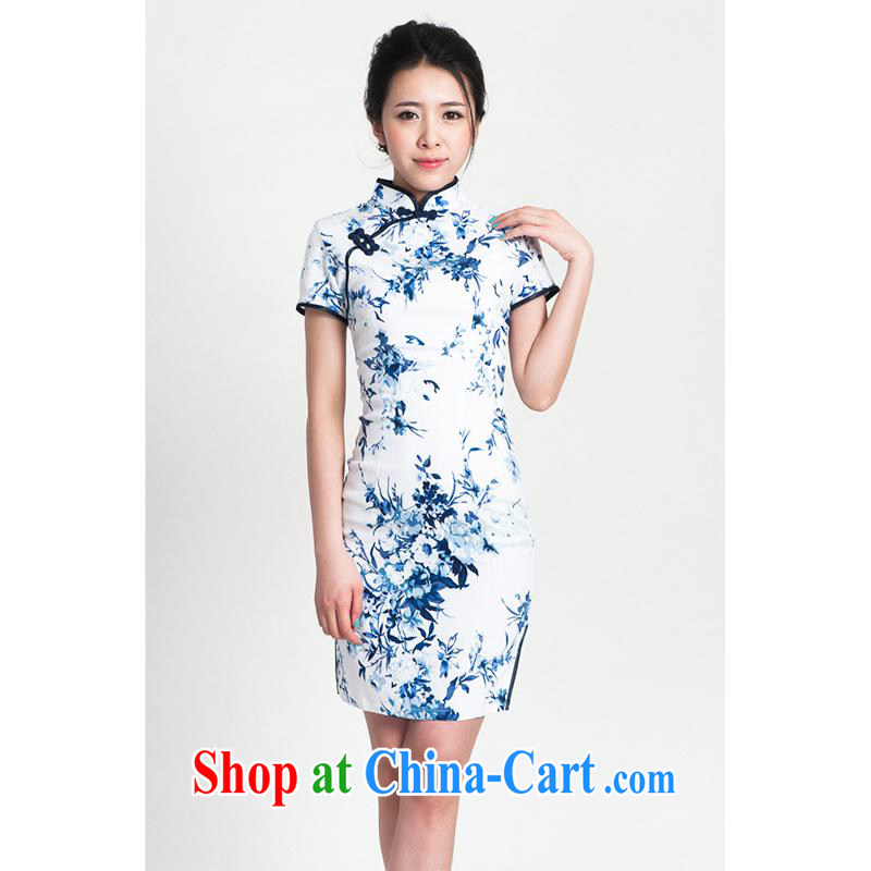 100 brigade Bailv summer new cotton stamp Chinese cheongsam dress short-sleeve dresses female B F 1 1028 _ sauna-jae of the flower - cotton the blue cyan