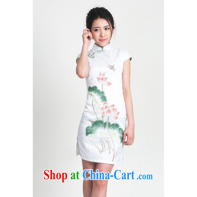 100 brigade Bailv summer new cotton stamp Chinese cheongsam dress short-sleeve dresses female B F 1 1028 # sauna-jae of the flower - hand-painted Lotus Lotus