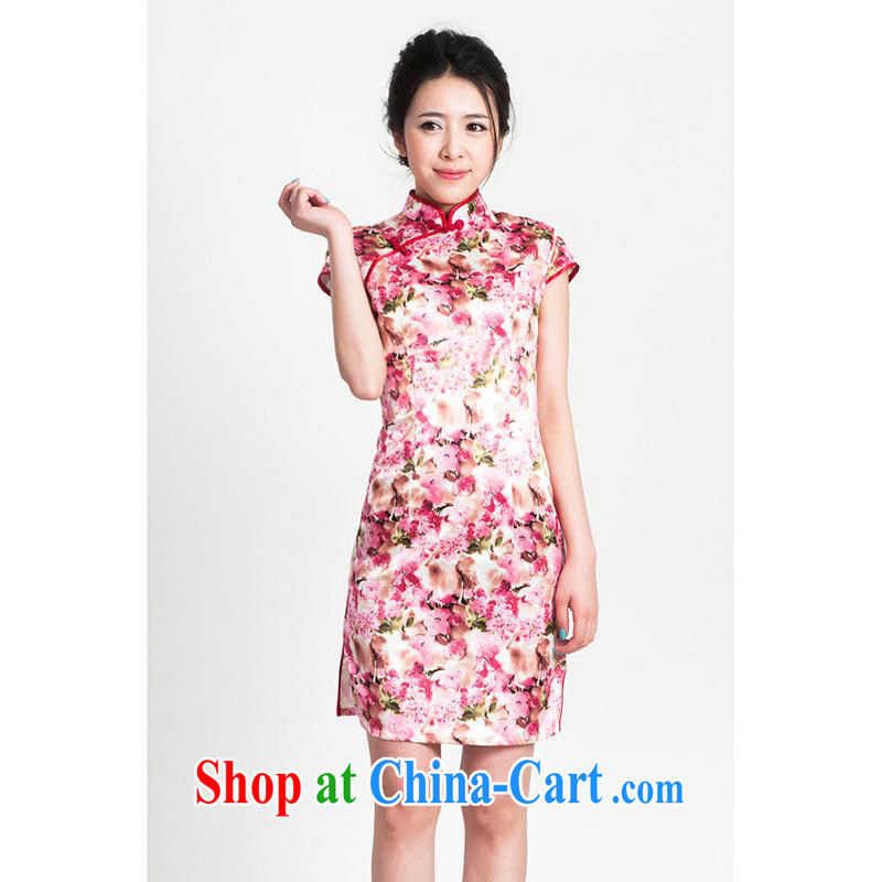 100 brigade Bailv summer new Satin embossed Chinese cheongsam dress short-sleeve dresses female B F 1 1028 # sauna-jae in 1369, cherry blossom cherry blossom toner